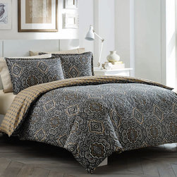 City Scene - City Scene Milan Charcoal Reversible 3-piece Cotton Duvet Cover Set - The City Scene Milan charcoal reversible duvet cover set is an elegant addition to any bedroom. This reversible duvet cover features a paisley pattern in a charcoal,grey and khaki finish. Machine washable for easy care and repeated use.