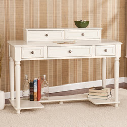 Upton Home - Tiverton White Writing Office Desk - This stylish white writing desk provides an elegant complement to any room or decor. This handsome desk features a hutch,three drawers and a lower storage shelf,providing plenty of space to keep your supplies and office essentials close at hand.