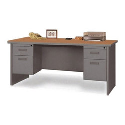 "Marvel Office Furniture - Pronto Contemporary Double Pedestal Office Computer Desk - The Pronto collection offers exceptional office furniture at great prices. This double pedestal desk provides the best in durability with melamine laminate tops featuring radius edges and steel construction. Each desk also has an attractive powder coated textured finish that is easy to care for and comes in two color combinations: Dark Neutral with a Mahogany top or Pumice with an Oak top. Edge banding also matches the finish color. Opening drawers will remain hassle free as they feature steel ball bearings, sliding out easily. An ideal feature is the ability to customize your desk with the choice of three widths. The double pedestal desk comes with full leg end panels creating a clean appearance. Features: -Durable melamine laminate tops feature radius edges.-Steel ball bearings in file drawers.-Full leg end panel gives a neat, clean appearance.-2 locking pedestals.-Includes two 2'' grommets in each leg for cable connections.-Steel construction with attractive powder coated textured finish for easy care.-Edge banding matches finish color.-Desk Type: Double Pedestal Desk.-Powder Coated Finish: Yes.-Gloss Finish: No.-UV Finish: No.-Top Material: Laminate.-Base Material: Metal.-Number of Items Included: 3.-Water Resistant: No.-Stain Resistant: No.-Heat Resistant: No.-Distressed: No.-Collection: Pronto.-Eco-Friendly: Yes.-Cable Management: Yes.-Keyboard Tray: No.-Height Adjustable: No.-Drawers Included: Yes -File Drawer: Yes.-Drawer Glide Material : Metal.-Drawer Glide Extension: Full Extension.-Safety Stop : Yes.-Soft-Close Drawer: No.-Locking Drawer: Yes.-Core Removable Drawer Locks: No.-Ball Bearing Glides: Yes..-Number of Drawer Pedestals: 2.-Pencil Drawer: No.-Jewelry Tray: No.-Exterior Shelving: No.-Ergonomic Design: No.-Handedness: Both.-Scratch Resistant: No.-Chair Included: No.-Legs Included: Yes -Number of Legs: 2.-Leg Material: Steel.-Leg Glides: No..-Casters Included: No.-Hutch Included: No.-Treadmill Included: No.-Modesty Panel: Yes -Modesty Panel Details: 3/4 Height..-CPU Storage: No.-Built In Outlet: No.-Built In Surge Protector: No.-Light Included: No.-Finished Back: No.-Tipping Prevention: No.-Modular: No.-Application: Office.-Commercial Use: Yes.-Solid Wood Construction: Yes.-Swatch Available: Yes.-Recycled Content: Yes.Specifications: -Available in 3 widths.-Green Guard Certified: Yes.Dimensions: -Overall Height - Top to Bottom (Width: 72"" W): 29"".-Overall Height - Top to Bottom (Width: 66"" W): 29"".-Overall Height - Top to Bottom (Width: 60"" W): 29"".-Overall Width - Side to Side (Width: 72"" W): 72"".-Overall Width - Side to Side (Width: 66"" W): 66"".-Overall Width - Side to Side (Width: 60"" W): 60"".-Overall Depth - Front to Back (Width: 72"" W): 30"".-Overall Depth - Front to Back (Width: 66"" W): 30"".-Overall Depth - Front to Back (Width: 60"" W): 30"".-Desk Return: No.-Credenza: No.-Bridge: No.-Cabinet: No.-Drawer: No.-Shelving: No.-Seat: No.-Desktop Height (Width: 72"" W): 29"".-Desktop Height (Width: 66"" W): 29"".-Desktop Height (Width: 60"" W): 29"".-Desktop Width - Side to Side (Width: 72"" W): 72"".-Desktop Width - Side to Side (Width: 66"" W): 66"".-Desktop Width - Side to Side (Width: 60"" W): 60"".-Desktop Depth - Front to Back (Width: 72"" W): 30"".-Desktop Depth - Front to Back (Width: 66"" W): 30"".-Desktop Depth - Front"