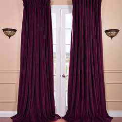 EFF - Eggplant Velvet Blackout Extra Wide Curtain Panel - This velvet panel has a natural luster with a depth of color that creates a formal,polished look. Made of high-quality,poly velvet and soft flowing polyester blackout thermal lining,the panel keeps light out and provides for optimal insulation.