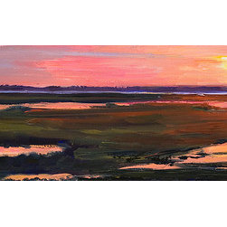 """Sunset Progression"" (Original) By Marin Dobson - This Sunset Near Berlin Maryland Was Stunning. The Marsh And Bay Beyond Capture And Reflect Light In Ways That Intrigue Me. There Are Two Additional Paintings Of This Area That Are Available. The Three Of Them Make A Wonderful Series!"