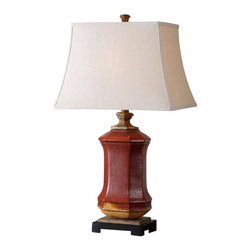 Uttermost Fogliano Red Ceramic Lamp - Rustic red ceramic with burnt orange accents, rust bronze distressing and gilded gold details. Rustic red ceramic with burnt orange accents, rust bronze distressing and gilded gold details. The rectangle bell shade is a beige linen fabric.