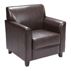 Flash Furniture - Flash Furniture Accent Chair X-GG-NB-1-728-TB - Make an impression with your clients and customers with this attractive leather reception chair. Reception chairs are perfect for the office and waiting room seating. Not only will this chair fit in a professional environment, but will add a chic look to your living room space. The contemporary design of this chair will fit in a multitude of environments with its comfortable cushions, flaired arms and black feet. [BT-827-1-BN-GG]