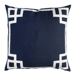Navy Deco Pillow - Linen cotton pillow cover with 3/4 inch ribbon trim border. Available in 3 square sizes.