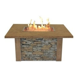 Sierra Fire Pit Table with Ledgestone and Supercast Top Mocha w/ Rectangle Burne - The rugged and attractive design of the Sierra Fire Pit Table with Ledgestone and Supercast Top Mocha w/ Rectangle Burner will create an excellent meeting point for all of the guests to your outdoor area. -Mantels Direct