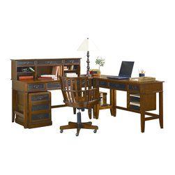 Hammary - Hammary Mercantile Home Office Desk Set - Give your home office the ultimate traditional old-world touch with this complete L Shaped Desk and Credenza set. Made up of a desk, credenza, hutch, corner table and rolling file, you'll have plenty of space for all of your home office needs. The desk features three front drawers with a drop down keyboard tray, while the hutch includes Three drawers, three open storage areas, six cubby spaces, and wire management. The credenza also features Three drawers, a Pull down keyboard tray, Mouse pad, Pencil tray, and Paper storage areas. The corner table makes it possible to connect the desk and credenza file offering a place to set a lamp or plant. A rolling file then acts as a safe place to keep important documents with its lateral drawer and two additional drawers. Altogether the desk set is finished in a warm Whiskey finish with antique hardware. Simply a fantastic desk set to give your home office that old-world, traditional vibe.