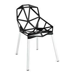 Contempo Chair in Black - The special occasion chair just got more fun with this contemporary furniture piece. We love its network of welded aluminum rods and geometric seat design. Chrome legs and black plastic foot caps add stability to the chair. Take it from table to table, room to room with ease.