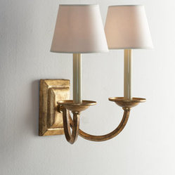 "VISUAL COMFORT Double Arm ""Flemished"" Sconce"