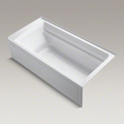 """KOHLER - KOHLER Archer(R) 72"""" x 36"""" alcove bath with integral apron and right-hand drain - Taking its design cues from traditional Craftsman furniture, the Archer line of baths reveals beveled edges and curved bases for a clean, sophisticated style. This bath offers a low step-over height while allowing for deep, comfortable soaking. Lumbar arch gently support the natural curves of your body."""