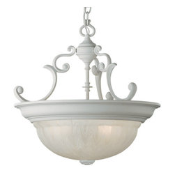 "Dolan Designs - Dolan Designs 527 Pendant Light - Traditional / Classic 16.5"" Bowl Pendant from the Richland CollectionBowl pendants are an elegant way to light up a room, and the Richland collection bowl pendant is no exception. Traditional ornate scrollwork abounds on this beautiful piece. The classic textured glass bowl softly diffuses light throughout your whole room.Features:"