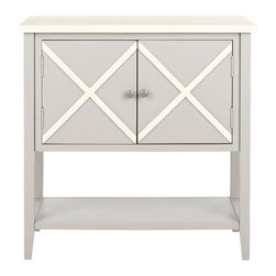 Safavieh - Safavieh Polly Poplar Wood Sideboard in Grey and White - Safavieh - Buffet Tables & Sideboards - AMH6599A - The wide double door Polly sideboard with lower shelf opens up possibilities in the dining room bedside or wherever extra storage is needed. With contrasting white top and x-detailed front Polly's a soft grey painted poplar is simplicity at its best.