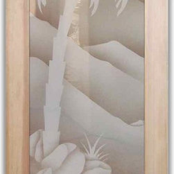 """Interior Glass Doors - Desert Palm with Pottery 2D - CUSTOMIZE YOUR INTERIOR GLASS DOOR!  Interior glass doors or glass door inserts.  .Block the view, but brighten the look with a beautiful interior glass door featuring a custom frosted glass design by Sans Soucie!  ship for just $99 to most states, $159 to some East coast regions, custom packed and fully insured with a 1-4 day transit time.  Available any size, as interior door glass insert only or pre-installed in an interior door frame, with 8 wood types available.  ETA will vary 3-8 weeks depending on glass & door type........  Select from dozens of sandblast etched obscure glass designs!  Sans Soucie creates their interior glass door designs thru sandblasting the glass in different ways which create not only different levels of privacy, but different levels in price.  Bathroom doors, laundry room doors and glass pantry doors with frosted glass designs by Sans Soucie become the conversation piece of any room.   Choose from the highest quality and largest selection of frosted decorative glass interior doors available anywhere!   The """"same design, done different"""" - with no limit to design, there's something for every decor, regardless of style.  Inside our fun, easy to use online Glass and Door Designer at sanssoucie.com, you'll get instant pricing on everything as YOU customize your door and the glass, just the way YOU want it, to compliment and coordinate with your decor.   When you're all finished designing, you can place your order right there online!  Glass and doors ship worldwide, custom packed in-house, fully insured via UPS Freight.   Glass is sandblast frosted or etched and bathroom door designs are available in 3 effects:   Solid frost, 2D surface etched or 3D carved. Visit our site to learn more!"""