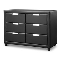 Baxton Studio - Baxton Studio Pageant Wood Contemporary Black Upholstered Dresser - Storage space doesn't mean stodginess with our Pageant Wood Contemporary Upholstered Dresser. Boasting six spacious drawers, this bedroom-furniture piece features striking black faux-leather padded upholstery and sparkly silver drawer pulls for a solidly contemporary approach. A wood frame provides outstanding durability.