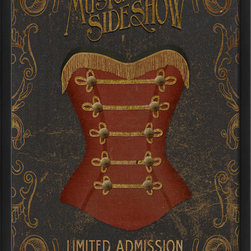 The Artwork Factory - 'Musical Sideshow' Print - A bustier, shaped like a string instrument body, adorns this old-thyme Musical Sideshow print. Made in the USA with high resolution, acid-free, fade-resistant paper and wood framed, this decorative print will spruce up your media room, bar or rec room, and put a smile on any vaudeville lovers' face.