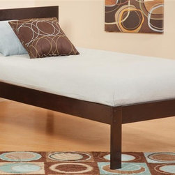 Atlantic Furniture - Eco Friendly Wooden Bed (Twin in Espresso) - Finish: Twin in EspressoMattress and pillows not included. Open foot rail. Open and symmetrical design. Warranty: One year on parts. Made from rubber wood. Twin: 76.88 in. L x 43.62 in. W x 33.5 in. H (60 lbs.). Full: 76.88 in. L x 57.75 in. W x 33.5 in. H (75 lbs.). Queen: 82.38 in. L x 64.5 in. W x 33.5 in. H (84 lbs.). Footrail Assembly Instructions. Headboard Assembly InstructionsThe low profile headboard is modern and looks great anywhere.