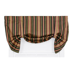 Ellis Curtain - Mateo Black 50 x 30-Inch Lined Tie-Up Valance - - Ellis Curtain Mateo Medium Scale Stripe Print Tie-Up Valance - Stripe patterns give any room a graphic punch. The Mateo Stripe is a medium scale multi colored vertically oriented pattern that coordinates wonderfully with solid colors and many contrasting patterns. The bold clean, crisp, simple design is sure to transform any room within your home decor. Made with 100-percent cotton duck fabric creates a smooth draping effect, soft texture and easy maintenance. The fabric has a unique woven design to create amazing visual appeal and interest. The Tie-Up Valance is a one-piece valance that includes two strap ties and a decorative 3-Inch rod pocket for easy hanging. Width is measured overall 50-Inch, length is measured overall 30-Inch from header to bottom of panel   - A drapery rod, which is not included, is required to complete installation   - This item is dry clean only Ellis Curtain - 730462043696