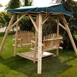 Double Glider Rustic Swing - The Moon Valley Double Glider is the perfect place for you and a friend to rest a spell and catch up on some conversation. This unique design includes two stylish fan back seats placed above a durable footboard mounted on a glider. A heavy-duty frame provides ample support and can be covered with a canopy to shield you from the summer sun. The glider is 8 feet long by 8 feet wide, and it measures 6 feet, 6 inches in height. You can purchase the glider without a finish or with an attractive wood stain to suit your needs.