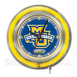 Holland Bar Stool - Holland Bar Stool Clk15Mrqtte Marquette Neon Clock - Clk15Mrqtte Marquette Neon Clock belongs to College Collection by Holland Bar Stool Our neon-accented Logo Clocks are the perfect way to show your school pride. Chrome casing and a team specific neon ring accent a custom printed clock face, lit up by an brilliant white, inner neon ring. Neon ring is easily turned on and off with a pull chain on the bottom of the clock, saving you the hassle of plugging it in and unplugging it. Accurate quartz movement is powered by a single, AA battery (not included). Whether purchasing as a gift for a recent grad, sports superfan, or for yourself, you can take satisfaction knowing you're buying a clock that is proudly made by the Holland Bar Stool Company, Holland, MI. Clock (1)