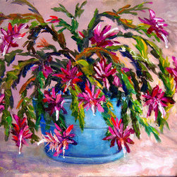 "Christmas Cactus (Original) by Lou Ann  Bagnall - I painted this for a local art contest with the subject ""Christmas"". I did this one as a departure from the usual. Inspired by a friend who has many beautiful pots of Christmas Cactuses blooming in her backyard here in Florida each winter."