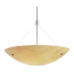 """Tech Lighting - Larkspur Bowl Pendant by Tech Lighting - In a contemporary kitchen or dining room, the Tech Lighting Larkspur Suspension Bowl has a warm, textural presence. Available in three colors, the slumped glass bowl combines rich, swirling tones with a soft nubby texture embedded within. This is complemented by either of the two available metal finishes. There are also options in overall length and lamping.Tech Lighting, headquartered in Skokie, IL, is known for their innovative lighting systems and exquisite lighting designs. Their passion for art, sophistication and imagination is balanced by rigorous testing and quality control in the creation of their line-voltage and low-voltage lighting, including the Tech Lighting FreeJack and monorail systems and track heads.The Tech Lighting Larkspur Suspension Bowl is available with the following:Details:Slumped glass shadeMetal accentsRound ceiling canopySuspension stemIncandescent version dimmable with standard incandescent dimmerEnergy efficient fluorescent option availableETL ListedOptions:Finish: Antique Bronze or Satin Nickel.Lamping: Compact Fluorescent, or Incandescent.Overall Length: 14"""", 24"""", or 36"""".Shade: Beach Amber, Sand, or Surf White.Lighting:Compact Fluorescent option utilizes two 27 Watt 120 Volt GU24 Base Self-Ballasting lamps (included). Incandescent option utilizes two 100 Watt 120 Volt Medium Base lamps (included).Shipping:This item usually ships within five business days."""