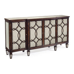 Kathy Kuo Home - Bayard Hollywood Regency Espresso Silver Leaf Mirrored Lattice Sideboard - The contrast of deep espresso stained wood and the expansive light of silver leaf eglomise mirror is brought into perfect focus in this classic sideboard.  From the mirror clad feet up to the bevel mirrored top, the attitude is formal, transitional and functional. Generous storage and abundant reflective light have never been so beautifully matched.