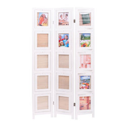 "ADAD5480-WH - 3 Panel Double Sided White Finish Wood Photo Frame Room Divider Screen - 3 panel double sided white finish wood photo frame room divider screen with swivel frames. Opening measures 7"" x 8"". Measures 38"" x 64"" H. Some assembly required."