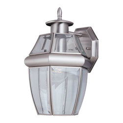 Seagull - Seagull Lancaster Outdoor Wall Mount Light Fixture in Antique Brushed Nickel - Shown in picture: 8038-965 Single-Light Lancaster Wall Lantern in Antique Brushed Nickel finish