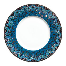 Deshoulieres - Dhara Peacock Dessert Plate - The Dhara collection will bring a fresh new look to your table. Embellished with shiny platinum details, the enchanting pattern combines elements of Persian and Indian cultures.