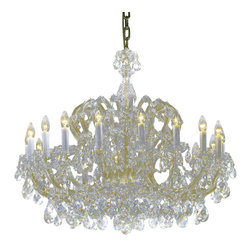 """Inviting Home - Maria Theresa Crystal Chandeliers (Traditional Crystal) - clear and gold Maria Theresa style crystal chandelier; 38"""" x 32""""H (18 lights); assembly required; 18 light traditional clear crystal chandelier with hand-molded arms and cut crystal trimmings; all metal parts have gold finish; genuine Czech crystal; * ready to ship in 2 to 3 weeks; * assembly required; This chandelier is a part of Maria Theresa Collection. At their start the chandeliers bearing the name of Maria Theresa were made on the occasion of the Empress's coronation as queen of Bohemia in 1743. This fact is hidden in the shape of these lighting fixtures reminiscent of the royal crown. Their characteristic feature is the arms' typical flat surface clad with glass bars. The bars are fixed to the arms by glass rosettes and beads with dangling cut crystal chandelier trimmings. These ravishing fixtures were inspired by a chandelier made for Maria Theresa in Bohemia in the mid 18th century. However not only the empress became fond of it; so did many others who fancied the style and the majestic manners after her. Typical elements are metal arms overlaid with glass bars and decorated with crystal rosettes. Originally the trimming was made of typical flat drops called """"pendles"""". Today trimmings of various shapes are used. Traditional crystal. Chandelier trimmings cut from lead-free glass are typical of the traditional production in Bohemia stretching back to the former half of the 18th century. Thanks to their look based on tradition and history they satisfy even the most discriminating customers. Lighting fixtures dressed with these trimmings are suitable especially for period interiors. On the other hand they create an exciting counterpoint to austere modern interiors. These trimmings are often used in the production of replicas of historical lighting fixtures. The tradition of production luxurious appearance and classical morphology are the common denominator of all these chandeliers. To man"""