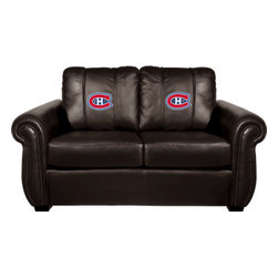Dreamseat Inc. - Montreal Canadiens NHL Chesapeake Black Leather Loveseat - Check out this Awesome Loveseat. It's the ultimate in traditional styled home leather furniture, and it's one of the coolest things we've ever seen. This is unbelievably comfortable - once you're in it, you won't want to get up. Features a zip-in-zip-out logo panel embroidered with 70,000 stitches. Converts from a solid color to custom-logo furniture in seconds - perfect for a shared or multi-purpose room. Root for several teams? Simply swap the panels out when the seasons change. This is a true statement piece that is perfect for your Man Cave, Game Room, basement or garage.