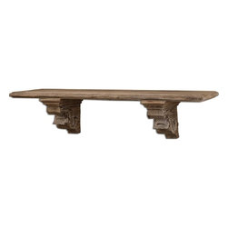 Grace Feyock - Grace Feyock McCoy Aged Wood Shelf X-85670 - Rustic wood finished with a taupe gray wash.
