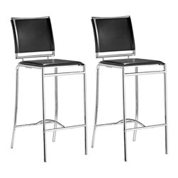 """Zuo - Set of 2 Zuo Soar Black 28 1/2"""" High Bar Stools - This elegant 2-piece bar stool set combines class style and modern lines for a sophisticated look. These perfectly balanced chairs have sturdy chrome foot rests for great support chromed steel tubed frame and black leatherette seats and backs. From the Zuo Modern collection. Black leatherette seat and back. Chromed steel frame. 37 1/2"""" high. 20"""" wide. 14"""" deep. Seat height is 28 1/2"""" high.  Black leatherette seat and back.   Chromed steel frame.   37 1/2"""" high.   20"""" wide.   14"""" deep."""