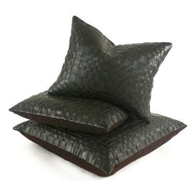Basket Woven Leather Pillow - Soft Texture...handsome pillow in chocolate brown leather, back in contrasting wool felt, medium-fill feather and down insert, hidden zipper.
