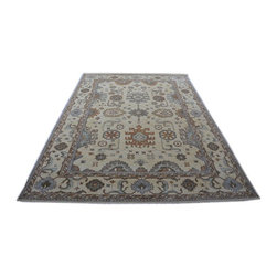 Natural Dyes Oriental Rug, 10x14 100% Wool Hand Knotted Oushak Area Rug SH14218 - Hand Knotted Oushak & Peshawar Rugs are highly demanded by interior designers.  They are known for their soft & subtle appearance.  They are composed of 100% hand spun wool as well as natural & vegetable dyes. The whole color concept of these rugs is earth tones.