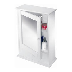 Croydex - Maine White Wood Cabinet - WC600122YW - Manufacturer SKU: WC600122YW. Includes Drawer on bottom. Includes Drawer on bottom. Wipe clean moisture resistant finish. Easy to install. All fittings included. 17.72 in. W x 7.09 in. L x 23.62 in. HClassic New England style mirror cabinet, includes an adjustable shelf and draw for smaller items. Coordinate with matching wall mounted accessories to complete the look.