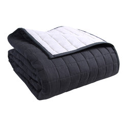 Quilted Reversable Bedspread Black & Grey
