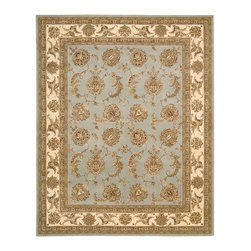 "Nourison - Nourison 2000 2022 5'6"" x 8'6"" Blue Cloud Area Rug 08359 - Antique elegance is replicated in this charming adaptation of Persian design. Lush flowerheads and leafy vines spread out in playful symmetry across a ground of French blue bordered by cream and gold - a richly appealing palette."