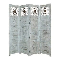 Nantucket Screen, White - Salisbury 4 Panel Floor Screen has a frame and panels of solid cedar wood stained in a washed Soft Blue finish.  Detailed scroll work on the top panels are made from stamped antique brass metal insets. This handmade Floor Screen is finished on both sides