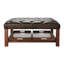 Butler Leather Cocktail Ottoman - The Butler Leather Cocktail Ottoman features a solid wood frame and a thickly padded surface to do double duty as a coffee table or bench-style ottoman plus a lower shelf nestling two generously-sized, removable trays.