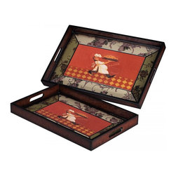 Joshua Marshal - Set Of 2 Busy Chef Trays - Set Of 2 Busy Chef Trays