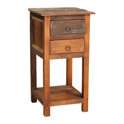 Nantucket 2 Drawer 1 Shelf Side Table, Medium Brown - Charming and casual, this distressed Nantucket 2-Drawer, 1-Shelf Side Table is a perfect addition to the living area. This hand-built side table features a classic design with strong, straight lines and is finished with various tones of distressed paint over a sealed medium brown. The square, paneled tabletop is made from reclaimed wood and fits nicely into tight spaces, while the open shelf is a lovely display option and the two drawers provide convenient storage for remote controls and other small items.