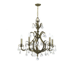 Crystorama Lighting Group - Dawson Antique Brass Five-Light Chandelier with Swarovski Strass Crystal - Dawson Antique Brass Five-Light Chandelier with Swarovski Strass Crystal Crystorama Lighting Group - 5565-AB-CL-S