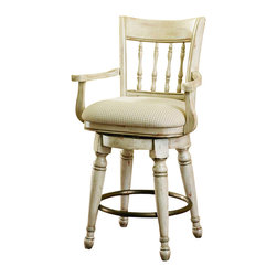 """Hooker Furniture - Summerglen Swivel Stool - Counter Height - White glove, in-home delivery!  For this item, additional shipping fee will apply.  This casual country stool is crafted from hardwood solids and cherry veneers and handpainted.  Swivel fabric seat.  Counter Stool Arm Height: 31 3/4"""" h  Bar Stool Arm Height: 37 3/8"""" h  Arm to Arm - Widest Angle: 19 1/8"""" w  Seat Depth: 18 1/2"""" d  Counter Stool Seat Height: 27 1/2"""" h  Bar Stool Seat Height: 33"""" h"""
