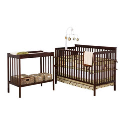 Stork Craft - Stork Craft Milan 2-in-1 Convertible Crib & Changer Combo-Espresso - Stork Craft - Baby Crib Sets - 04521009 - With its rich finish and clean lines the Milan 2 in 1 Fixed Side Convertible Crib by Stork Craft will be the ideal harmonizing piece to your babys nursery collection. Included in the bundle is the Milan Changer with plenty of storage for larger items such as diapers wipes and extra clothes. Designed with safety in mind the table has an extra deep surface for added security and stability while changing your baby. As your baby grows you can convert the Milan Crib into a full size bed and use the changer as a shelf to store big kid clothes or toys._� The Milan will last you a lifetime with its well built construction made of solid wood and wood products offered in a variety of durable finishes; it is truly a unique piece. Complete your nursery look by adding a Stork Craft chest dresser armoire or glider and ottoman.
