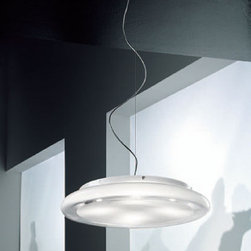 """Vistosi - Vistosi Pod pendant light - The Pod pendant light by Vistosi has been designed by Babled & Co 2005. The pendant light is made of semi-transparent white blown glass, with a central opal glass decoration. This oval centerpiece will make a statement in any room. This beautiful light has been handmade on the Venetian island of Murano. Every light comes with a certificate of authenticity.  Product Description:     The Pod pendant light by Vistosi has been designed by Babled & Co 2005. The pendant light is made of semi-transparent white blown glass, with a central opal glass decoration. This centerpiece will make a statement in any room. This beautiful light has been handmade on the Venetian island of Murano. Every light comes with a certificate of authenticity.                         Manufacturer:             Vistosi                            Designer:                         Babled & Co 2005                                         Made in:            Italy                            Dimensions:                         width: 21.7"""" (  55 cm )   height: 3"""" (7,5 cm )                                         Light bulb:                         4x 40W Halogen                                         Material                         white"""