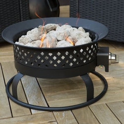 Bond 18.5 in. Portable Propane 50,000 BTU Campfire Fire Pit - Lightweight sturdy and ultra versatile you can use your Bond 18.5 in. Portable Bronze Propane Campfire Fire Pit on wood decks or take it tailgating on campouts or beach parties. This portable propane campfire style fire pit cranks out 50 000 BTUs. It has a steel frame uses a 20-pound external propane tank (not included) and comes with a smart locking lid. The pumice stone tank holder and 10-foot gas hose complete this fire pit. The tank holder tray holds the propane tank so it won't tip over. About Bond ManufacturingThis item is created by Bond Manufacturing which began operations as an importer of bamboo product over 50 years ago. While this heritage still remains a part of their business today Bond has transformed over the years into a leader within the outdoor consumer products category. Bond has earned its trust by always fully standing behind every product and program they present. Through efficient and cost-effective production they offer the balance of quality and value. Bond is committed to bringing you the very best in quality service value and innovation.