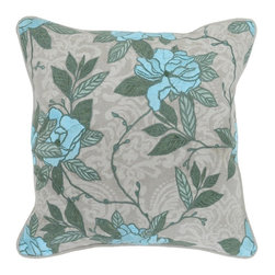Villa Home - Pair of Fatima Crystal Blue Pillows by Villa Home - Tropical Update! Large hibiscus-like flowers vine over a linen background of soft grays. Embroidered leaves provide dimension and texture to this scrolling motif. (VH)