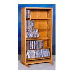 Wood Shed - Dowel CD Storage Tower w Five Shelves (Dark) - Finish: DarkCapacity: 220 CD's. Made from solid oak. Honey oak finish. 18.25 in. W x 12.25 in. D x 34 in. H