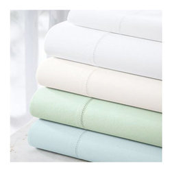 Cuddledown Organic Cotton 300 Percale Sheet and Pillowcase Sets - Sleep in style and rest easy in quality and softness. 100% organic combed cotton, these organic cotton sheets are crisp, yet soft.  The secret is in the finishing process where the 300 thread count fabric is mercerized for strength, luster, and a very soft feel. Healthy for you, your family, and the environment, our organic cotton is GOTS certified and the finished fabric is Oeko-Tex certified to be free of all harmful chemicals. 16 fitted sheet stays secure with elastic all around. Care:  Machine wash/dry. Sets include one flat sheet, one fitted sheet, and two pillowcases (King pillow case size with King sets, Standard/Queen size with all others).