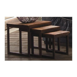 Zuo Modern - 3-Pc Nesting Table Set - Includes small, medium and large table. Solid elm tops. Antiqued metal base. Warranty: One year. Distressed natural finish. Assembly required. Small: 10 in. W x 15.7 in. D x 12 in. H. Medium: 13 in. W x 15.7 in. D x 14 in. H. Large: 15.7 in. W x 15.7 in. D x 16 in. H. Weight: 26.4 lbs.Perfect for those small spaces, the Civic Center nesting tables slide together for a space saving design. Pull them out for extra table top space.